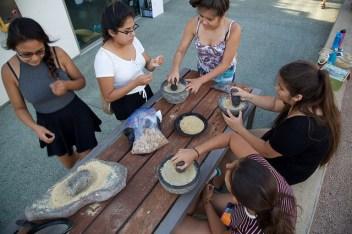 grinding acorn flour